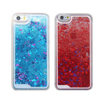 Liquid Glitter Stars Novelty Colourful iPhone 6 5 Galaxy S6 S5 Clear Case Cover