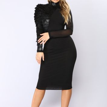 Stand Strong Midi Dress - Black