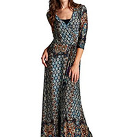 Paris Bohemian 3/4 Sleeve Faux Wrap Maxi Dress Long
