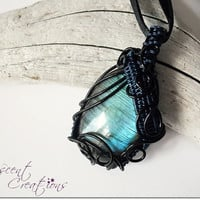 OOAK blue Labradorite wire wrapped pendant, intricate swirly wire wrap, black and blue copper wire, black ribbon necklace, unique necklace
