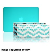 "INV ® Macbook Extra Slim Hard Case - Rubberized for Apple Macbook Pro 13.3 Inch 13"" (A1278 / Without Retina Display) Plus 2 Pcs Matching Color Chevron Zig-Zag Keyboard Cover Skin (TURQUOISE)"