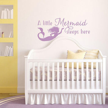 Wall Decal Quote A Little Mermaid Sleeps Here, Mermaid Nursery Bedroom Decor, Mermaid Wall Decal Baby Girl Gift, Wall Decal Sticker K215