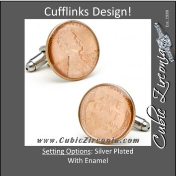 "Men's Cufflinks- Silver Plated Authentic U.S. ""Wheat Penny"" Coin Jewelry"