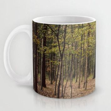 Art Coffee Cup Mug In the Woods 1 Modern Photography home decor Java Lovers forest green trees brown branches mother nature earth tones