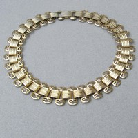 "Signed MARINO 1"" Wide Gold Tone Book Chain 1950's Victorian Revival Vintage Choker Necklace"