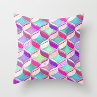 Patchwork Ribbon Ogee Pattern with Pink & Purple Throw Pillow by Micklyn