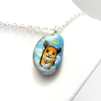 Hamster Necklace, Pet Pendant, Hand Painted Jewelry, Pet Loss, Angel Accessory, Pet Memorial, In Memory, Beach Stone Art