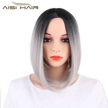 I's a wig Ombre Pink  Grey Red Blue Brown Bob Style Straight  Synthetic Wigs for  Women Black Hair High temperature Fiber