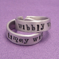 Doctor Who Inspired - Wibbly Wobbly & Timey Wimey - A Pair of Hand Stamped Adjustable Aluminum Rings