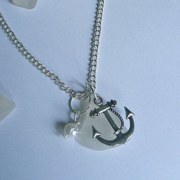Beach glass necklace with anchor. Sea glass jewelry. Nautical.