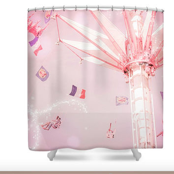 Paris France Carnival in Summer Polyester Fabric Shower Curtain