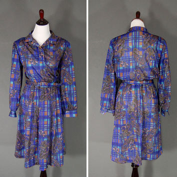 Vintage Paisley Dress / Paisley Plaid / Belted / 1980's