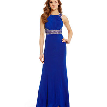 Morgan & Co. Illusion Heat Stone Long Dress | Dillards