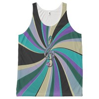 Green Black Gold Purple Music Clef Swirl Tank All-Over Print Tank Top
