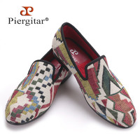 New Low poly pattern men loafers Handmade mixed colors men knitting shoes red bottom and Comfortable cotton insole men's flat