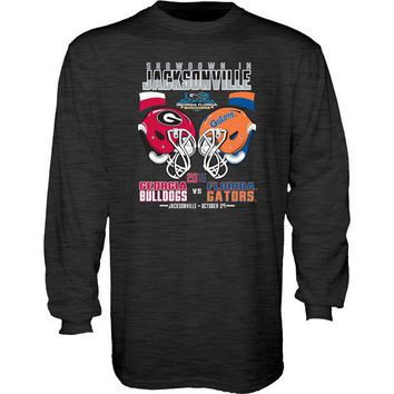 LMFON NCAA Florida Vs Georgia Blue 84 Black Long Sleeve Game Day T-Shirt