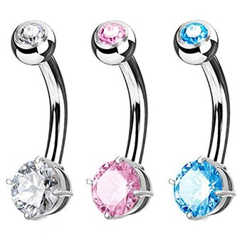BodyJ4You 3PC Belly Navel Ring Jeweled Prong Set CZ 5mm Surgical Steel Piercing 14G Curved Barbell
