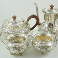 Sheffield Reproduction Hand Chased Repousse Silver Plate Tea Set