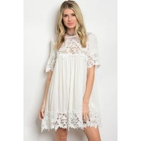 White Floral Crochet Baby Doll Dress