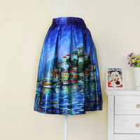 High Waist Printed Maxi Skirt