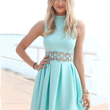 Blue Lace Embroidered Waist Sleeveless A-Line Mini Pleated Dress