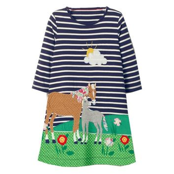 Baby Girls Dress Long Sleeve Animal Appliques Princess Dress Unicorn Tunic Jersey Kids Clothes Christmas Children Dresses Girl