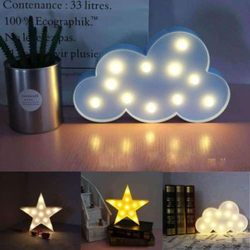 3D Clouds and/or Stars Marquee Style LED Wall Lamp
