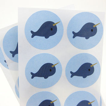 Blue Narwhal Stickers. 30 labels 1.5 inch circle. Baby Shower. Birthday Party.