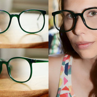 Vintage Green Eyeglasses Large Round Oversized 1980s 54/21 NOS mens womens