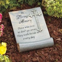 In Loving Memory Garden Stone Scroll Design Grave Marker Memorial Lawn Decor