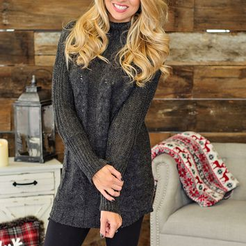 * Same Time Tomorrow Cable Knit Sweater Tunic: Charcoal