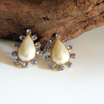 1950s Vintage Tear Drop Earrings Faux Pearl and Purple Rhinestones  FREE SHIPPING in North America