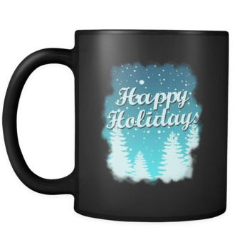 Happy Holidays Christmas Black 11oz mug