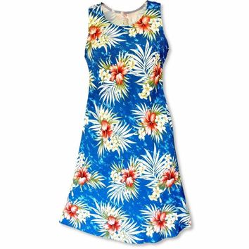 Hibiscus Isles Blue Rhythm Hawaiian Dress