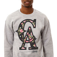 The CA Floral Crewneck Sweatshirt in Heather Gray