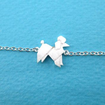 French Poodle Origami Shaped Charm Bracelet in Silver