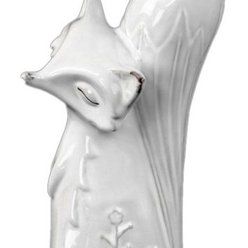 Ceramic Distressed Gloss Finish White Embossed Sitting Fox with Head Turned Figurine
