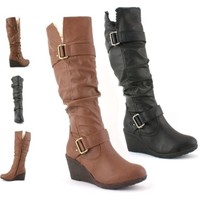 LADIES WOMENS FAUX LEATHER FUR WINTER WEDGE PLATFORM KNEE HIGH BOOTS SHOES SIZE