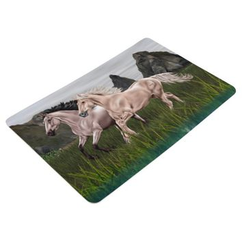 Buckskin and Palomino Horse Floor Mat