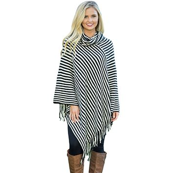 Black White Stripes Tassel Cowl Neck Poncho Sweater