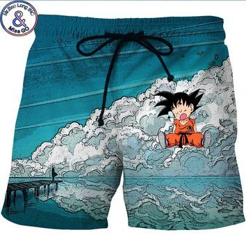 Men's Hipster Summer Quick Dry Beach Board Boxer Shorts Trunks 2018 3D Dragon Ball Z Kid Goku Printed Boardshorts With Pockets