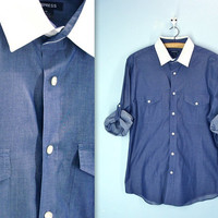vintage 80s men's shirt . EXPRESS blue shirt white collar . tabbed sleeves . medium