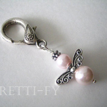 Guardian Angel Charm, Small Pink Angel Keychain Charm, Small Angel Key Ring, Communion Favors, Unique Key Rings,Glass Pearl,Event Favors