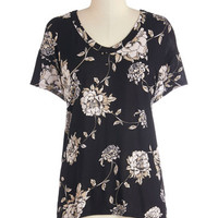 ModCloth Mid-length Short Sleeves Serene Sketches Top