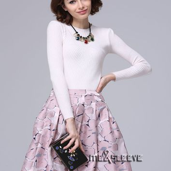 New Girls Fashion flower pattern jacquard microfiber fabric woman Skirt with lining inside