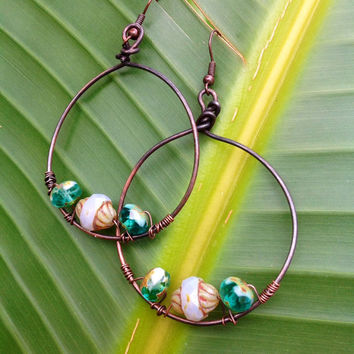 Copper earrings-wire wrapped hoop earrings-Picasso Czech Glass Beads-Copper-Patina-Jewelry -Beaded earrings, dangle hoop earrings,beaded