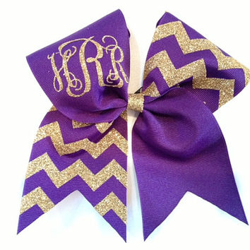 Monogrammed purple and gold glitter chevron cheer bow