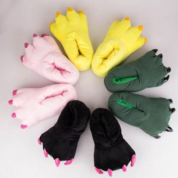 Plus Thick Velvet Cute Monster Claw Floor Shoes Warm Soft Plush Winter Indoor Shoes Ca