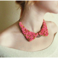 Oxford Collar Bib Necklace with tiny  Pink Golden honey roses Peter Pan Collar