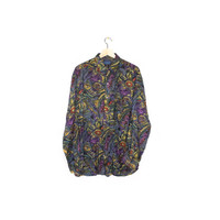 90s floral rayon shirt - vintage 1990s - sha safari - wild pattern - all over print - long sleeve button down - mens large